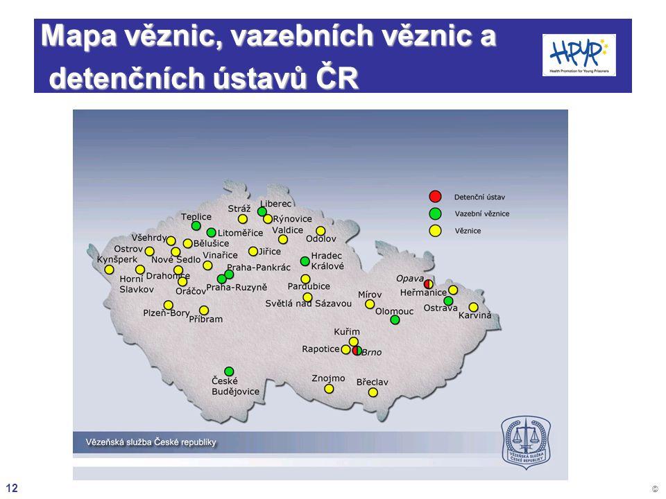 Mapa věznic, vazebních věznic a detenčních ústavů ČR