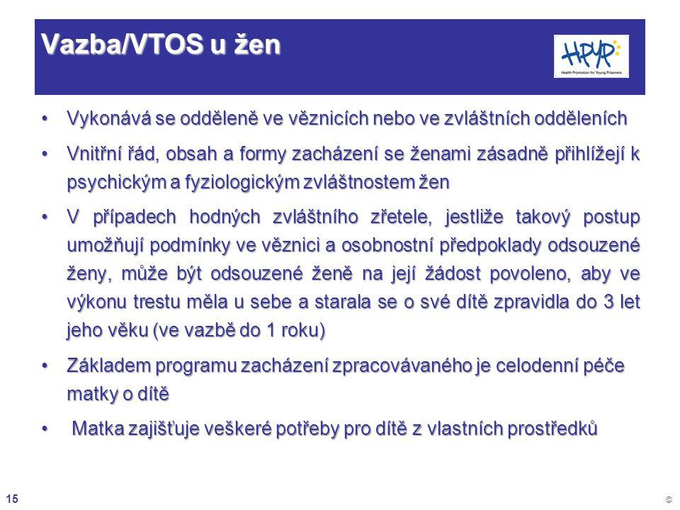 Vazba/VTOS u žen Vykonává se odděleně ve věznicích nebo ve zvláštních odděleních.