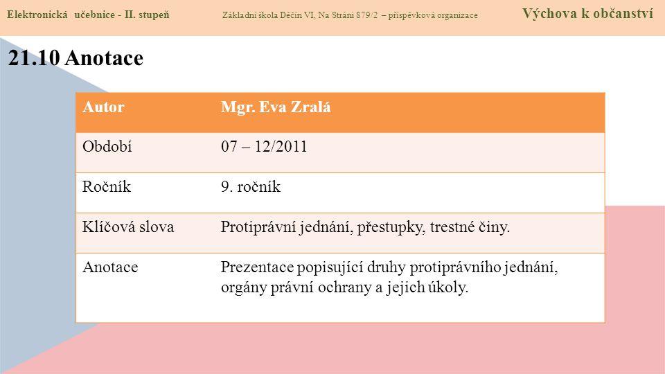 21.10 Anotace Autor Mgr. Eva Zralá Období 07 – 12/2011 Ročník