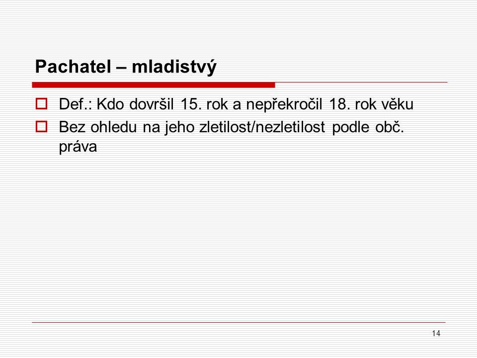Pachatel – mladistvý Def.: Kdo dovršil 15. rok a nepřekročil 18.