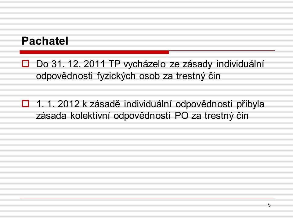 Pachatel Do 31. 12. 2011 TP vycházelo ze zásady individuální odpovědnosti fyzických osob za trestný čin.