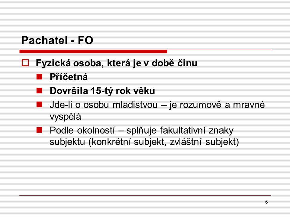 Pachatel - FO Fyzická osoba, která je v době činu Příčetná