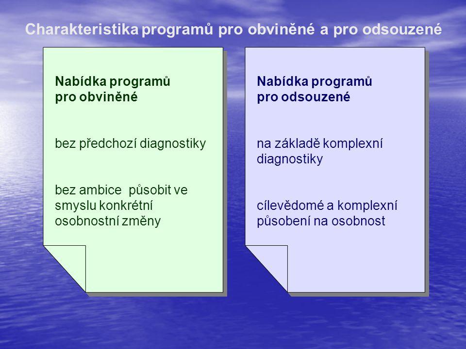 Charakteristika programů pro obviněné a pro odsouzené