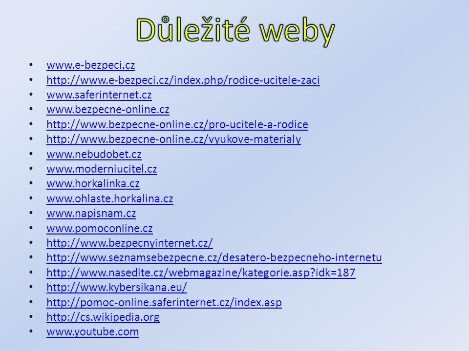 Důležité weby www.e-bezpeci.cz