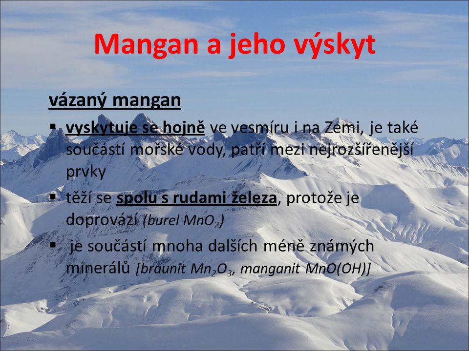 Mangan a jeho výskyt vázaný mangan
