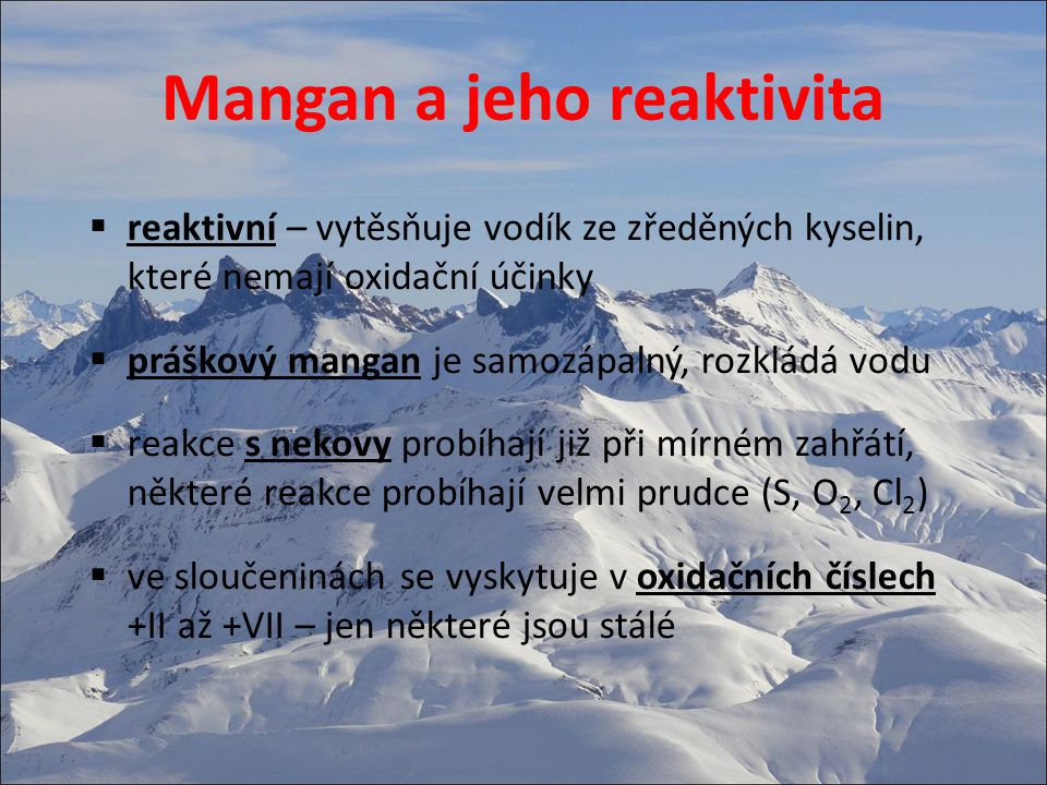 Mangan a jeho reaktivita