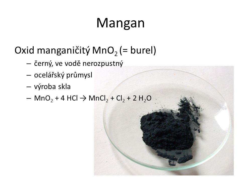 Mangan Oxid manganičitý MnO2 (= burel) černý, ve vodě nerozpustný