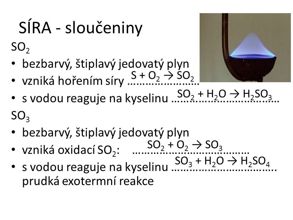 SÍRA - sloučeniny SO2 bezbarvý, štiplavý jedovatý plyn
