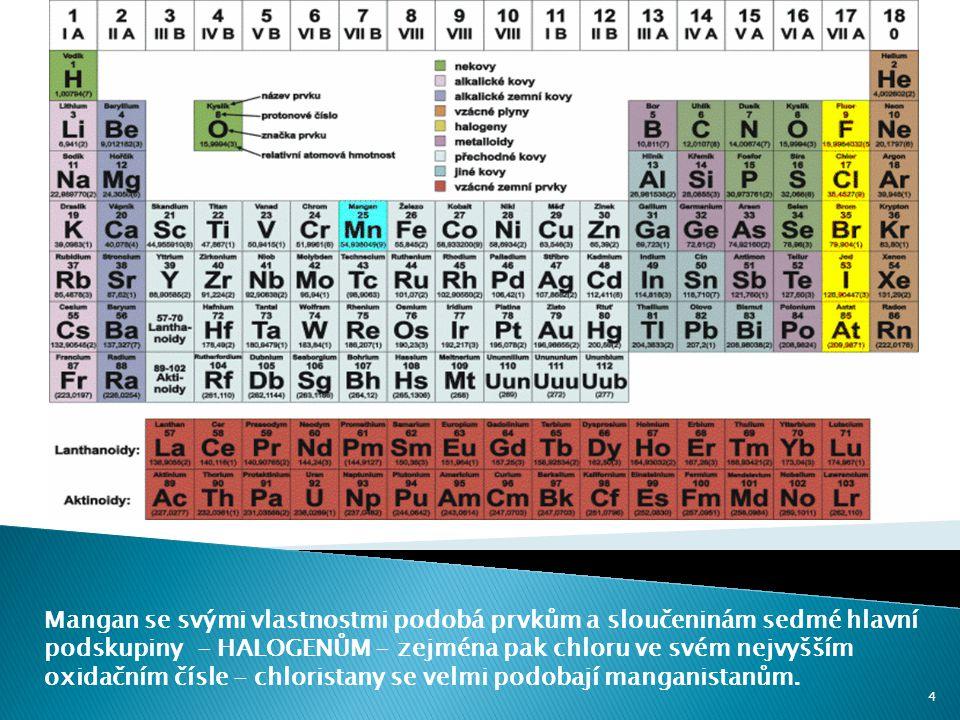 Mangan se svými vlastnostmi podobá prvkům a sloučeninám sedmé hlavní podskupiny - HALOGENŮM - zejména pak chloru ve svém nejvyšším oxidačním čísle - chloristany se velmi podobají manganistanům.