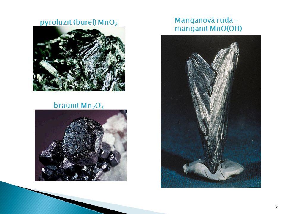 Manganová ruda – manganit MnO(OH) pyroluzit (burel) MnO2 braunit Mn2O3