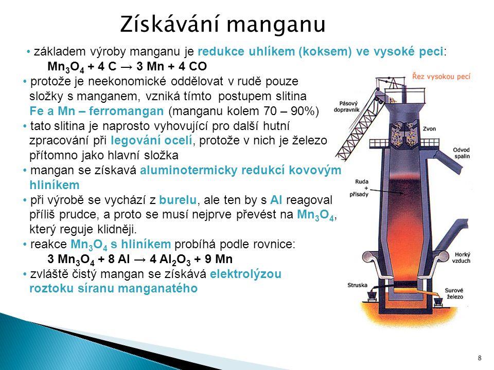 Získávání manganu základem výroby manganu je redukce uhlíkem (koksem) ve vysoké peci: Mn3O4 + 4 C → 3 Mn + 4 CO.