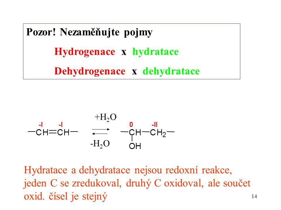 Pozor! Nezaměňujte pojmy Hydrogenace x hydratace