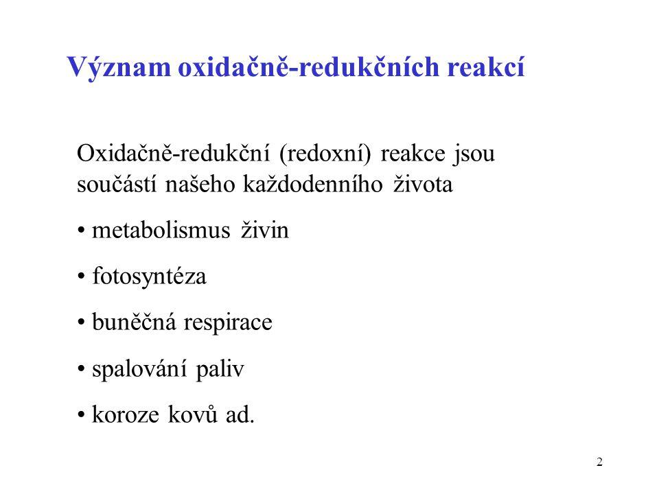 Význam oxidačně-redukčních reakcí