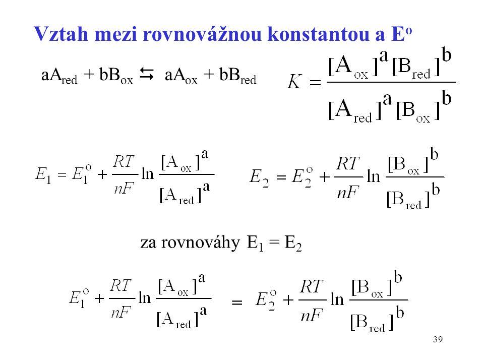 Vztah mezi rovnovážnou konstantou a Eo