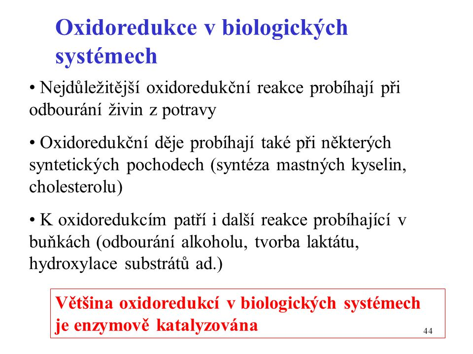 Oxidoredukce v biologických systémech
