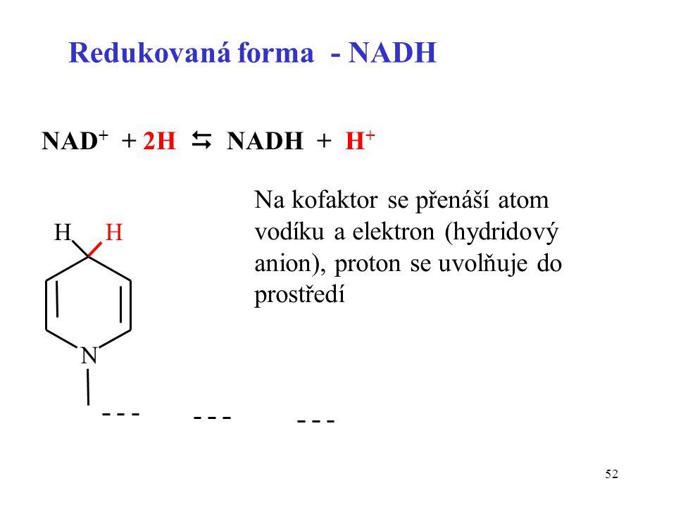Redukovaná forma - NADH