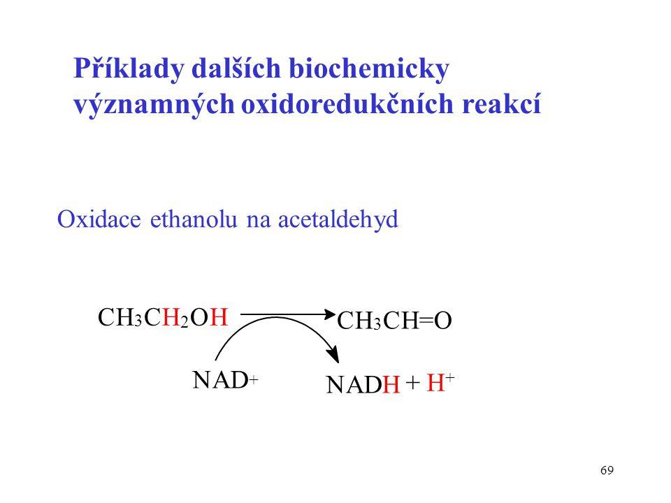 Příklady dalších biochemicky významných oxidoredukčních reakcí