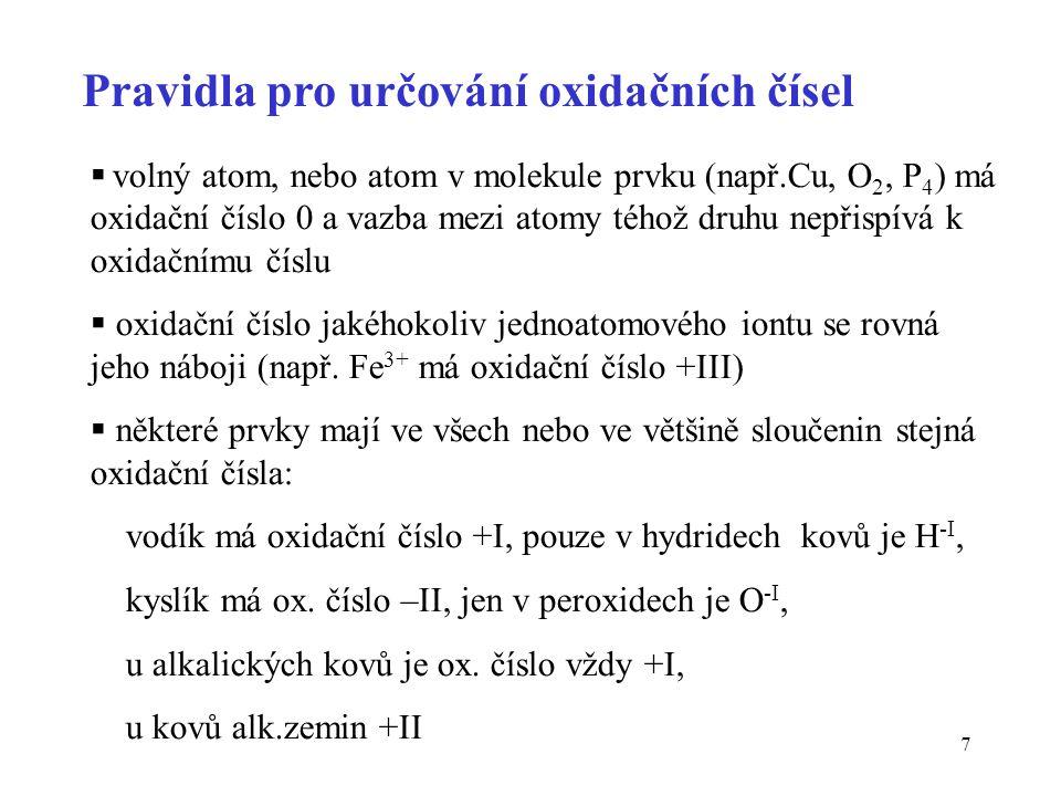 Pravidla pro určování oxidačních čísel