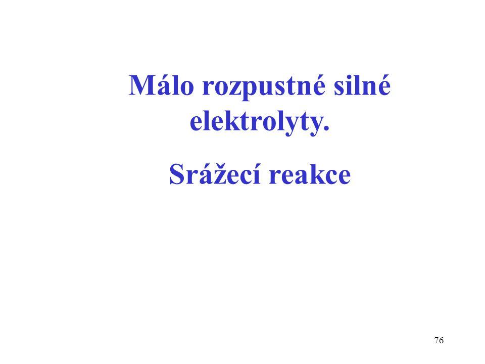Málo rozpustné silné elektrolyty.