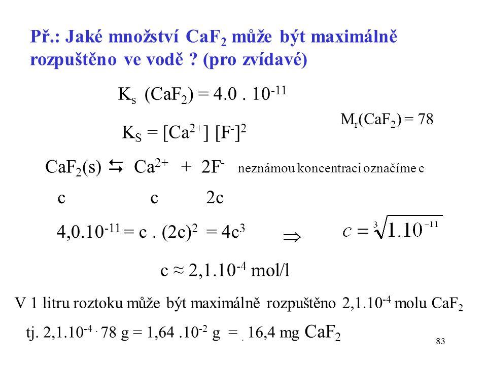 CaF2(s)  Ca2+ + 2F- neznámou koncentraci označíme c