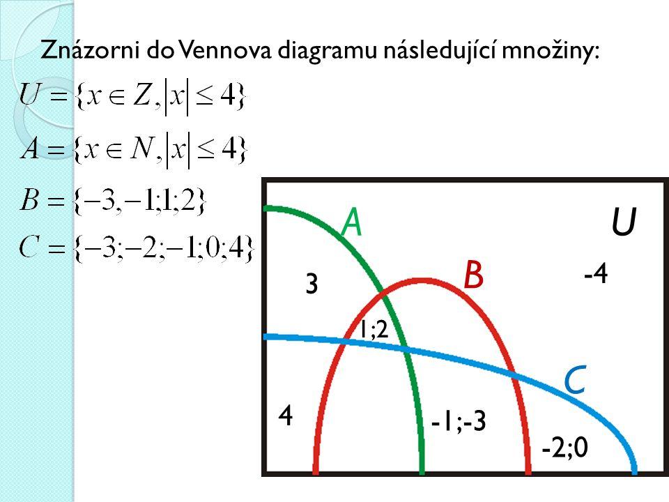 Znázorni do Vennova diagramu následující množiny: