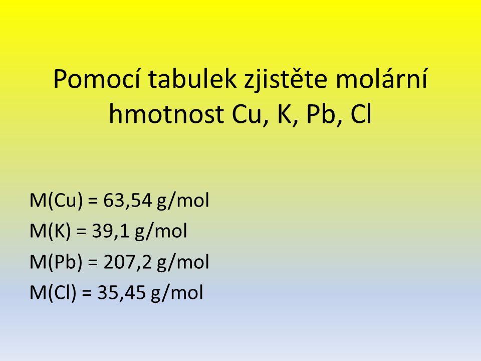 Pomocí tabulek zjistěte molární hmotnost Cu, K, Pb, Cl