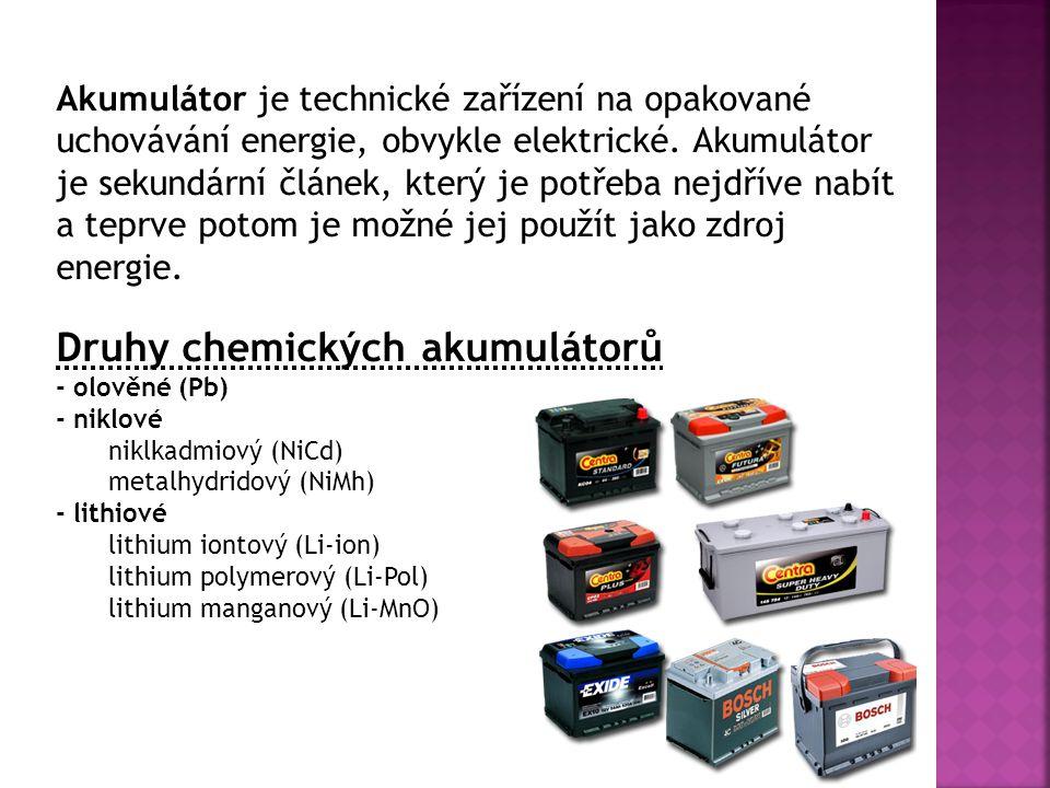 Druhy chemických akumulátorů