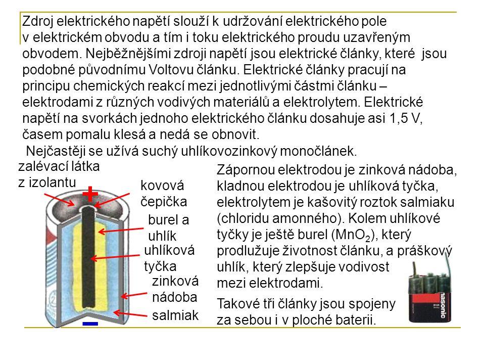 Zdroj elektrického napětí slouží k udržování elektrického pole v elektrickém obvodu a tím i toku elektrického proudu uzavřeným obvodem. Nejběžnějšími zdroji napětí jsou elektrické články, které jsou podobné původnímu Voltovu článku. Elektrické články pracují na principu chemických reakcí mezi jednotlivými částmi článku – elektrodami z různých vodivých materiálů a elektrolytem. Elektrické napětí na svorkách jednoho elektrického článku dosahuje asi 1,5 V, časem pomalu klesá a nedá se obnovit.