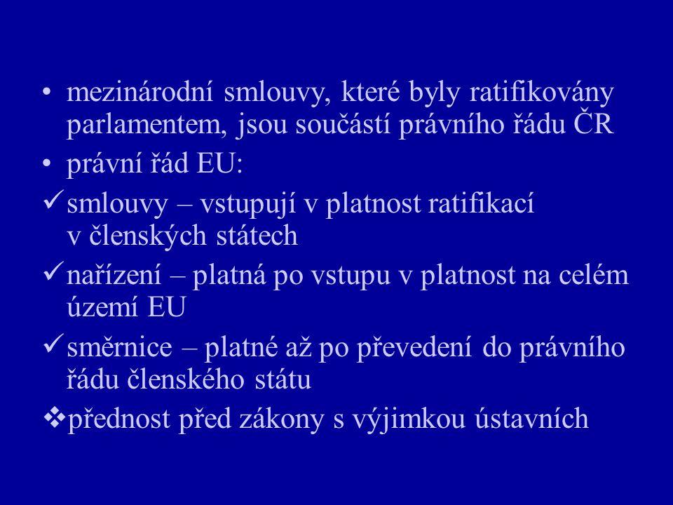 mezinárodní smlouvy, které byly ratifikovány parlamentem, jsou součástí právního řádu ČR