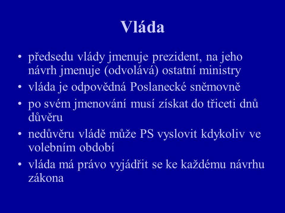 Vláda předsedu vlády jmenuje prezident, na jeho návrh jmenuje (odvolává) ostatní ministry. vláda je odpovědná Poslanecké sněmovně.