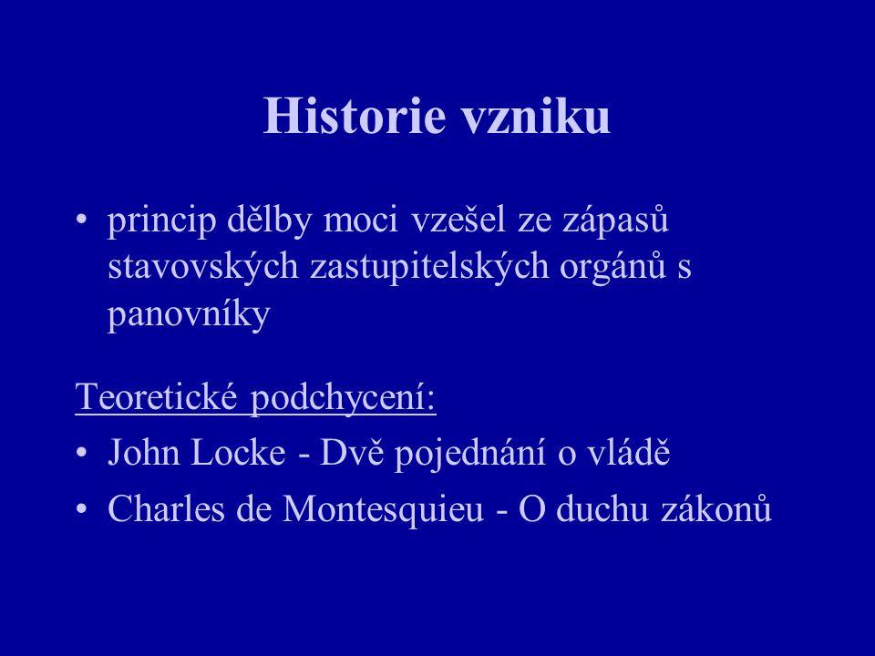 Historie vzniku princip dělby moci vzešel ze zápasů stavovských zastupitelských orgánů s panovníky.