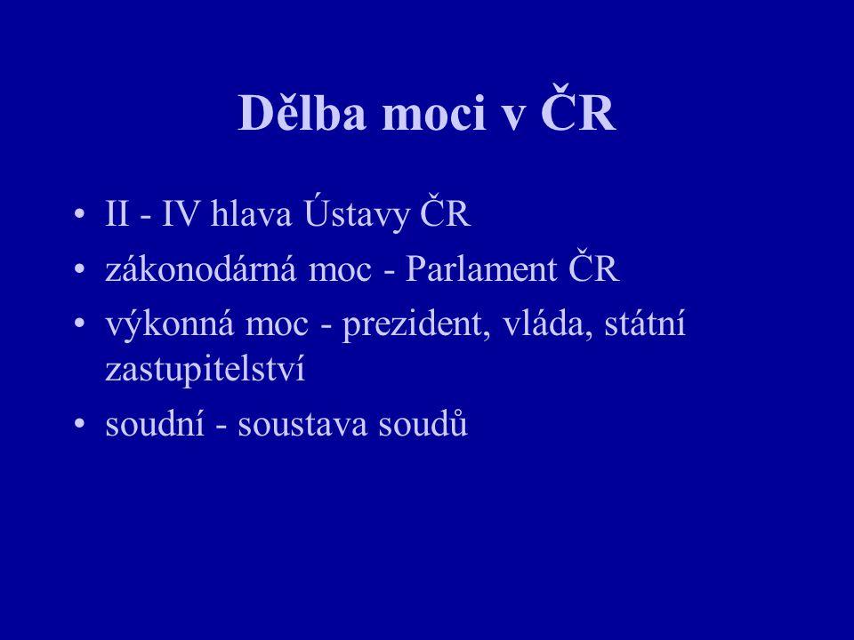 Dělba moci v ČR II - IV hlava Ústavy ČR zákonodárná moc - Parlament ČR