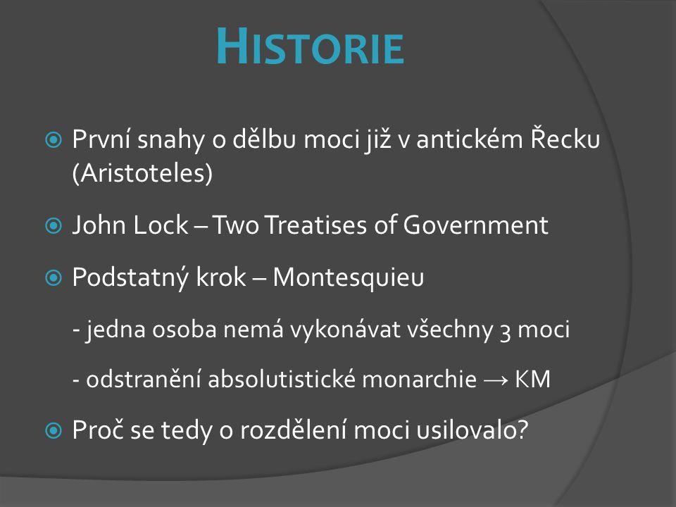 Historie První snahy o dělbu moci již v antickém Řecku (Aristoteles)