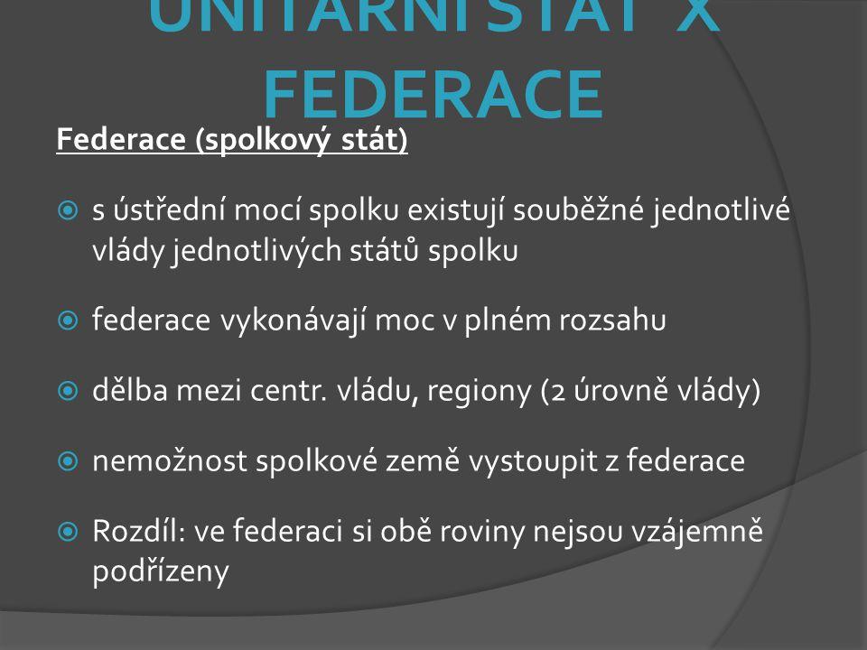 UNITÁRNÍ STÁT X FEDERACE