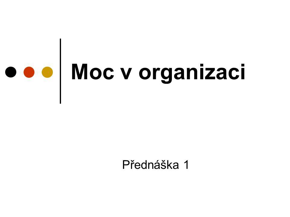 Moc v organizaci Přednáška 1
