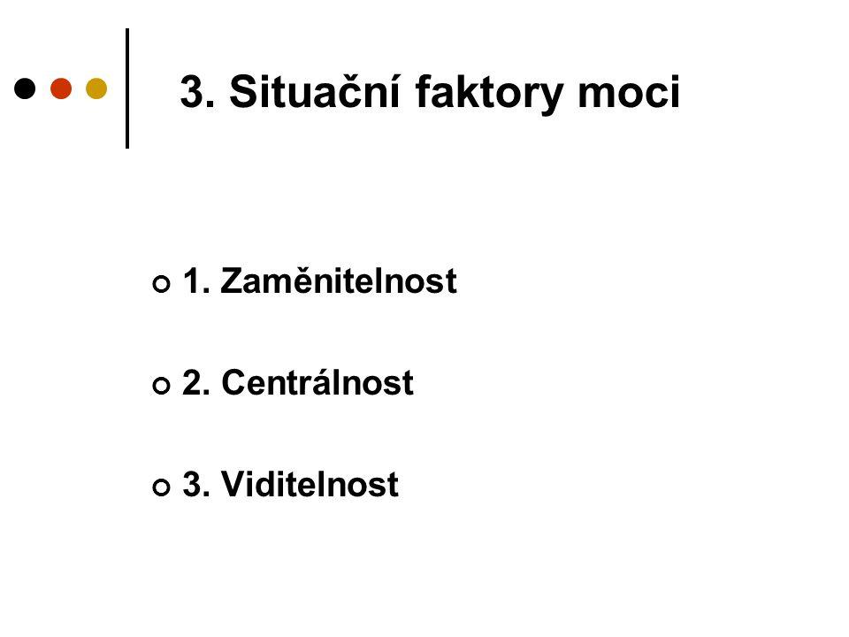 3. Situační faktory moci 1. Zaměnitelnost 2. Centrálnost