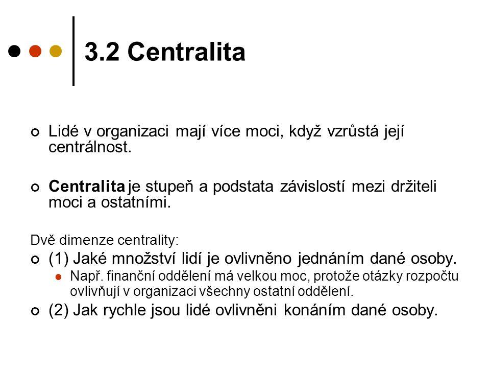 3.2 Centralita Lidé v organizaci mají více moci, když vzrůstá její centrálnost.