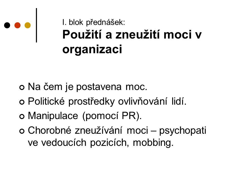 I. blok přednášek: Použití a zneužití moci v organizaci