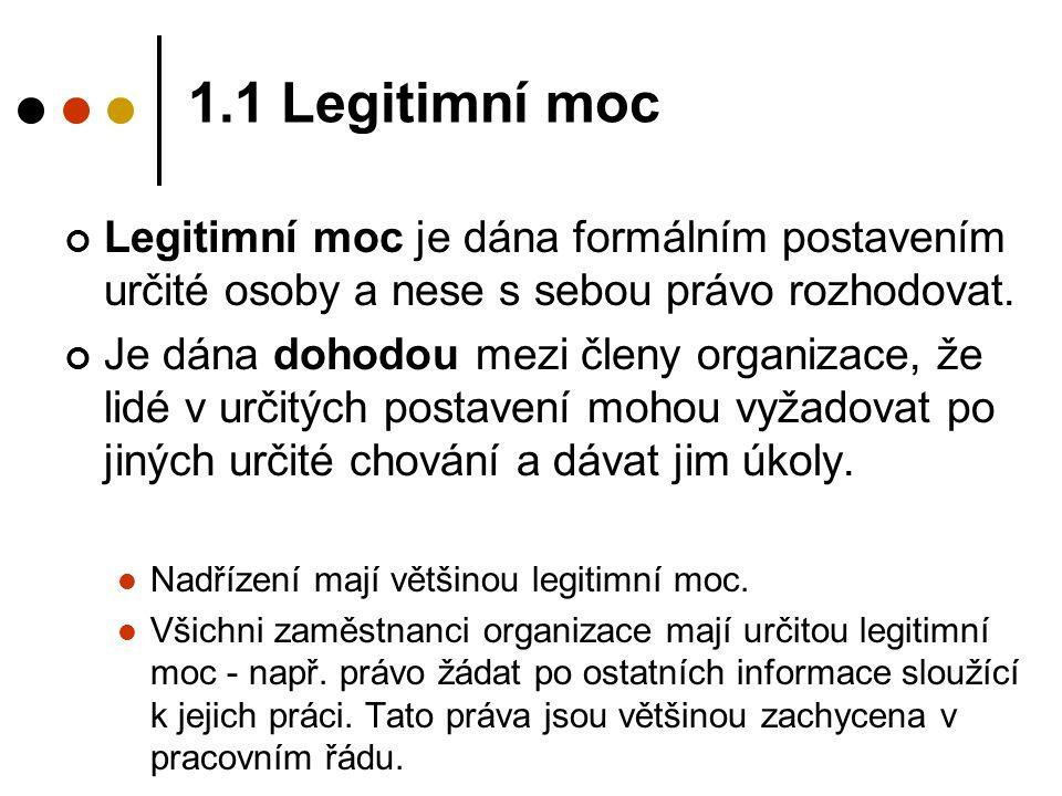 1.1 Legitimní moc Legitimní moc je dána formálním postavením určité osoby a nese s sebou právo rozhodovat.
