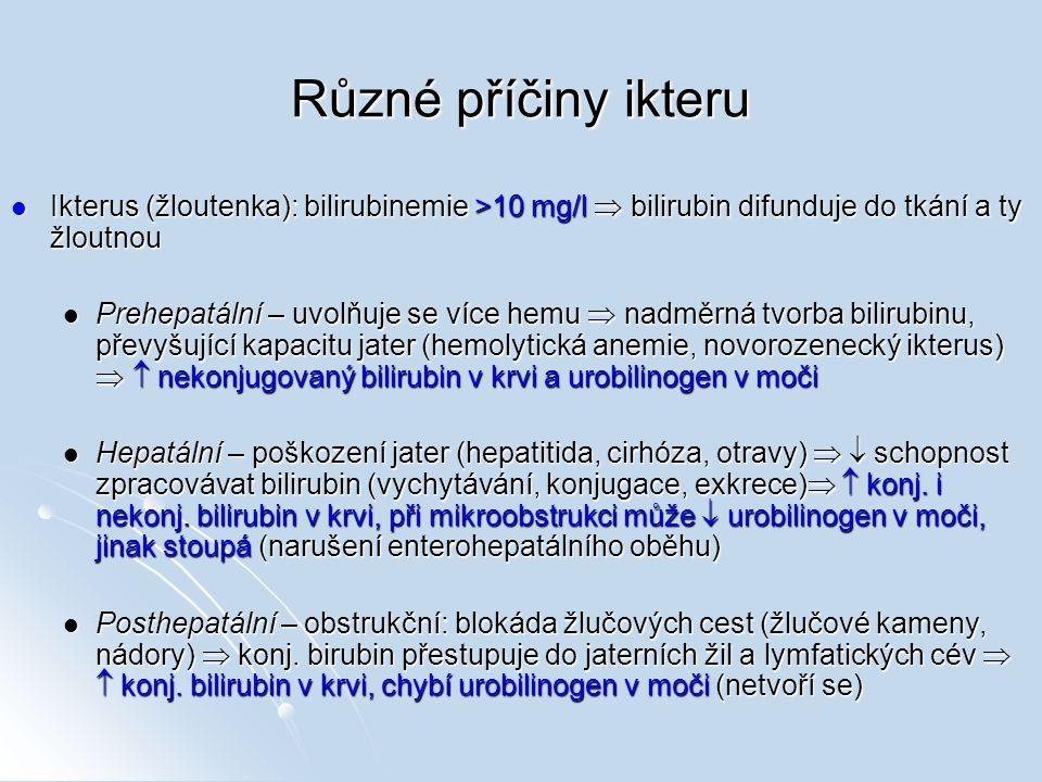 Různé příčiny ikteru Ikterus (žloutenka): bilirubinemie >10 mg/l  bilirubin difunduje do tkání a ty žloutnou.