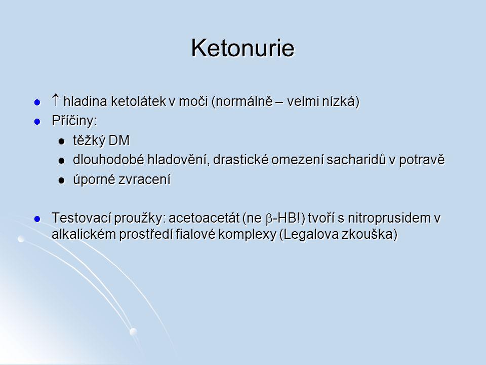 Ketonurie  hladina ketolátek v moči (normálně – velmi nízká) Příčiny: