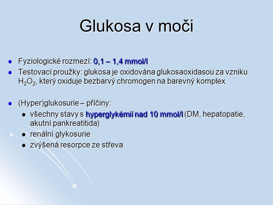 Glukosa v moči Fyziologické rozmezí: 0,1 – 1,4 mmol/l