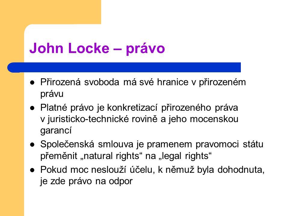 John Locke – právo Přirozená svoboda má své hranice v přirozeném právu