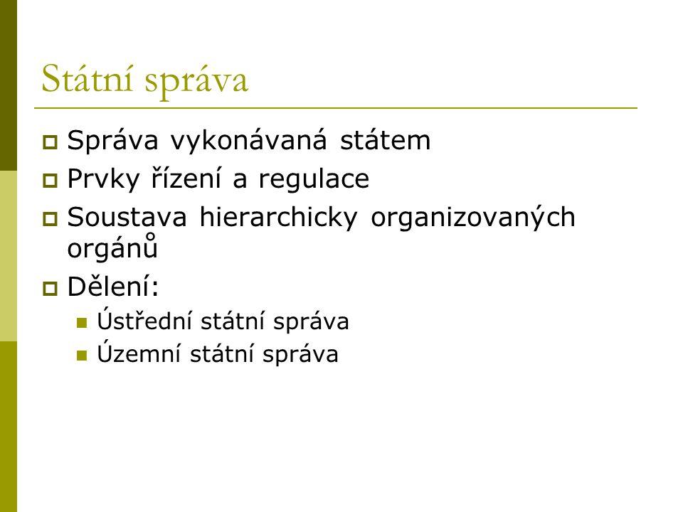 Státní správa Správa vykonávaná státem Prvky řízení a regulace
