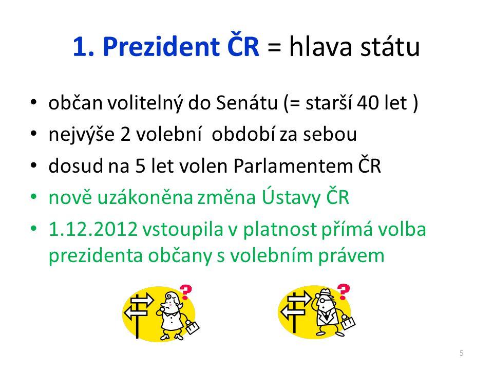 1. Prezident ČR = hlava státu