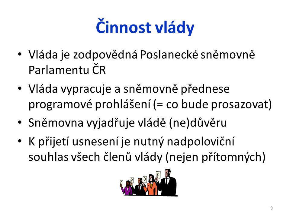 Činnost vlády Vláda je zodpovědná Poslanecké sněmovně Parlamentu ČR