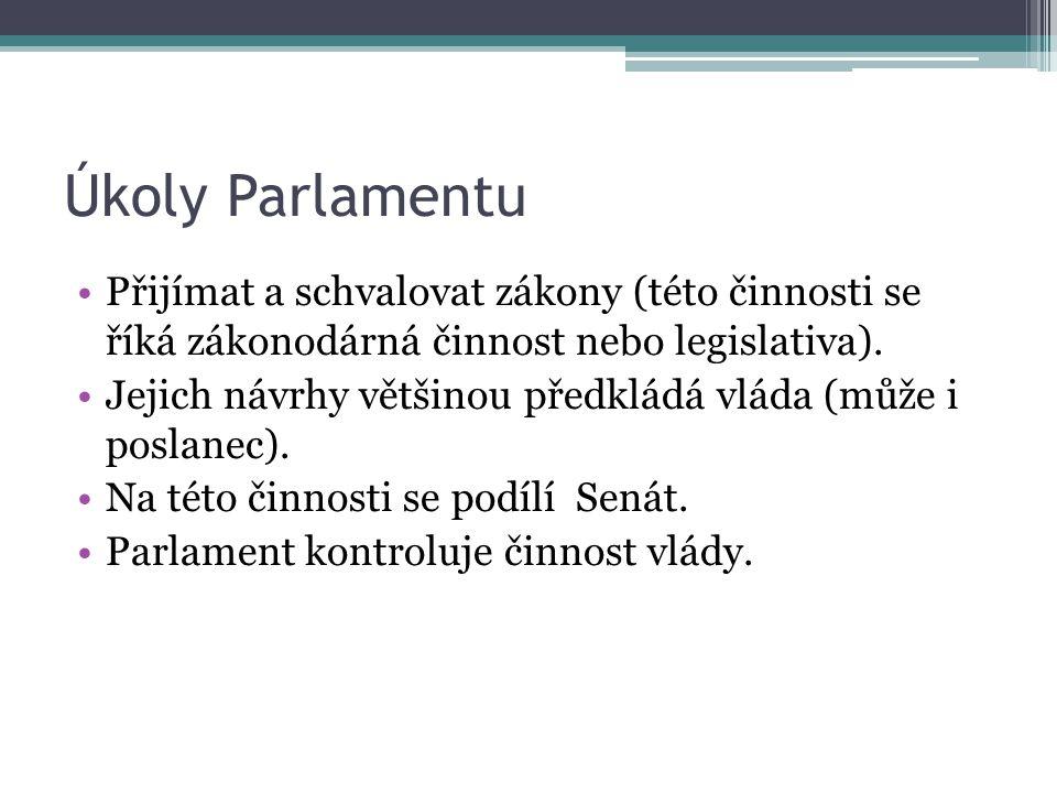 Úkoly Parlamentu Přijímat a schvalovat zákony (této činnosti se říká zákonodárná činnost nebo legislativa).