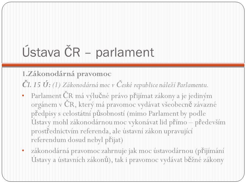 Ústava ČR – parlament 1.Zákonodárná pravomoc