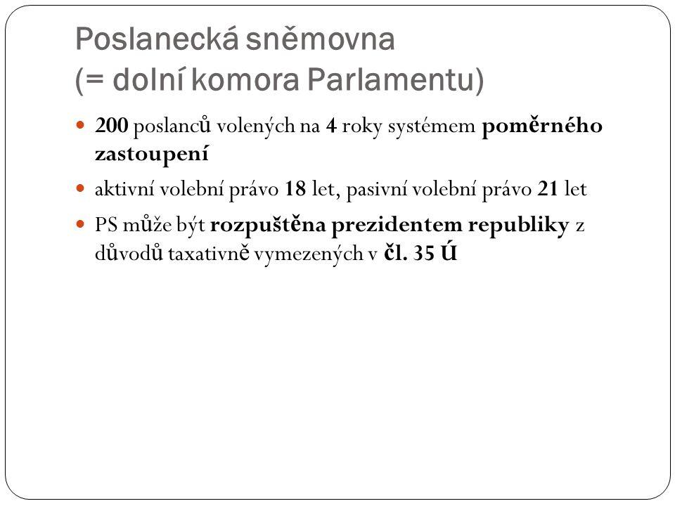 Poslanecká sněmovna (= dolní komora Parlamentu)