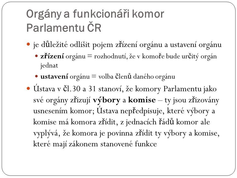 Orgány a funkcionáři komor Parlamentu ČR